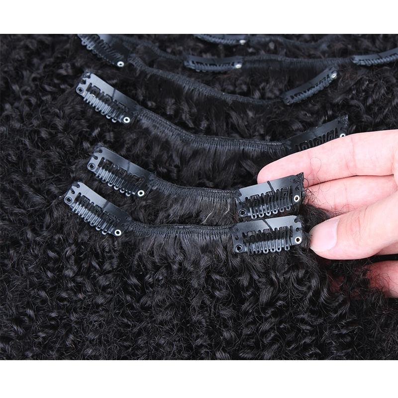 Монгольский афро кудрявый вьющиеся клип в человеческих волос расширения 7 шт./компл. 120 гр/УП Афро-Американский клип в человеческих волос расширения