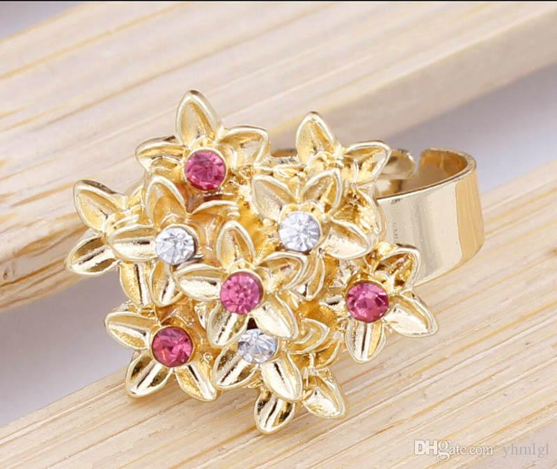 Blume Anhänger Set 18 Karat Vergoldet Österreichischen Kristall Halskette Armband Ring Ohrringe Schmuck Set Für Frauen Hochzeit Geschenke