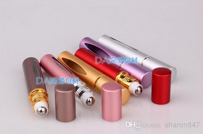 10ML metal aluminum Portable Roll on refillable Empty Glass Bottle for Essential Oils eye Massage, Perfumes 3ml Dropper HK Post free