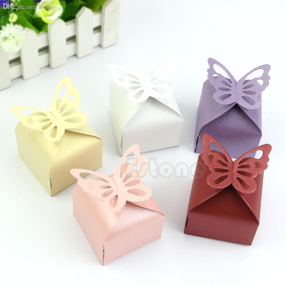 Wholesale-Free Shipping 50pcs Butterfly Style Favor Gift Candy Cake Boxes For Wedding Party Baby Shower