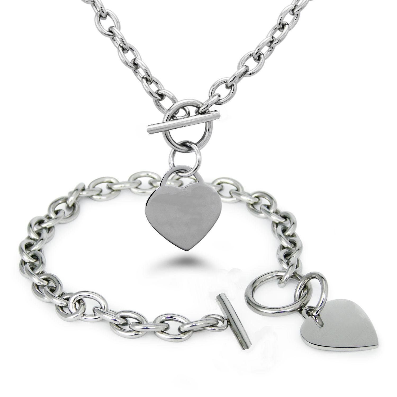 قلادة ذهبية باردة وخلفية من الفولاذ المقاوم للصدأ على شكل قلب مع قلادة Toggle Clasp الساخنة