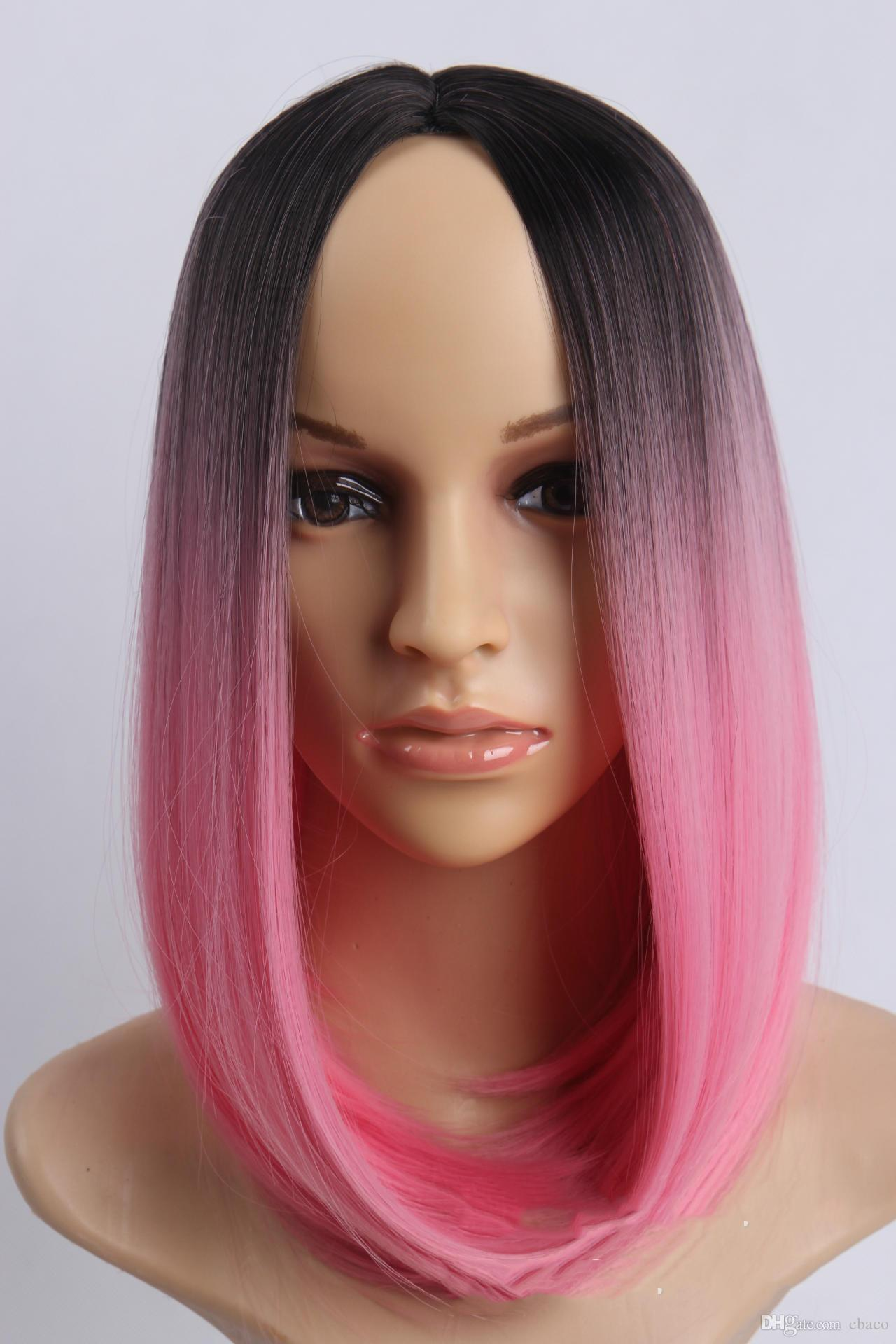 Black To Pink Short Bob Wig Synthetic Lace Front Wig Synthetic Wigs For Black  Women Red Wig Dark Roots Natural Cheap 2017 Jeweled Hair Pins Jeweled Hair  ... 232719e57f