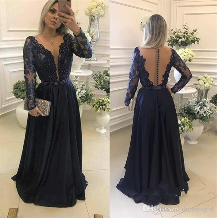 2018 neue Ankunft Langen Ärmeln Dark Navy Abendkleider Sheer Oansatz Taste Zurück Appliqued Satin Abendkleider Mit Perlen Formale Party Kleider