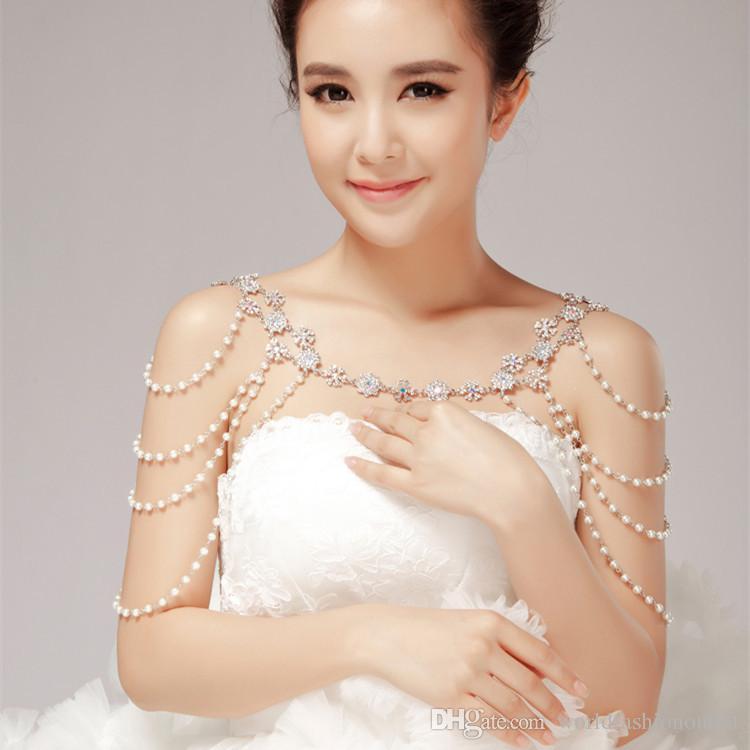 Свадьба обручальное кристалл волна цепь для женщин жемчужные кисточки горный хрусталь ожерелье плечевые цепи невесты ювелирные изделия свадебные кристалл волна цепь