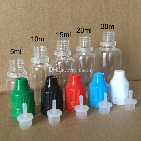 Colorful Tamper Evident Seal and Child Proof Empty Bottle 5ml 10ml 15ml 20ml 30ml E Liquid Plastic Dropper Bottles with Long Thin Tips