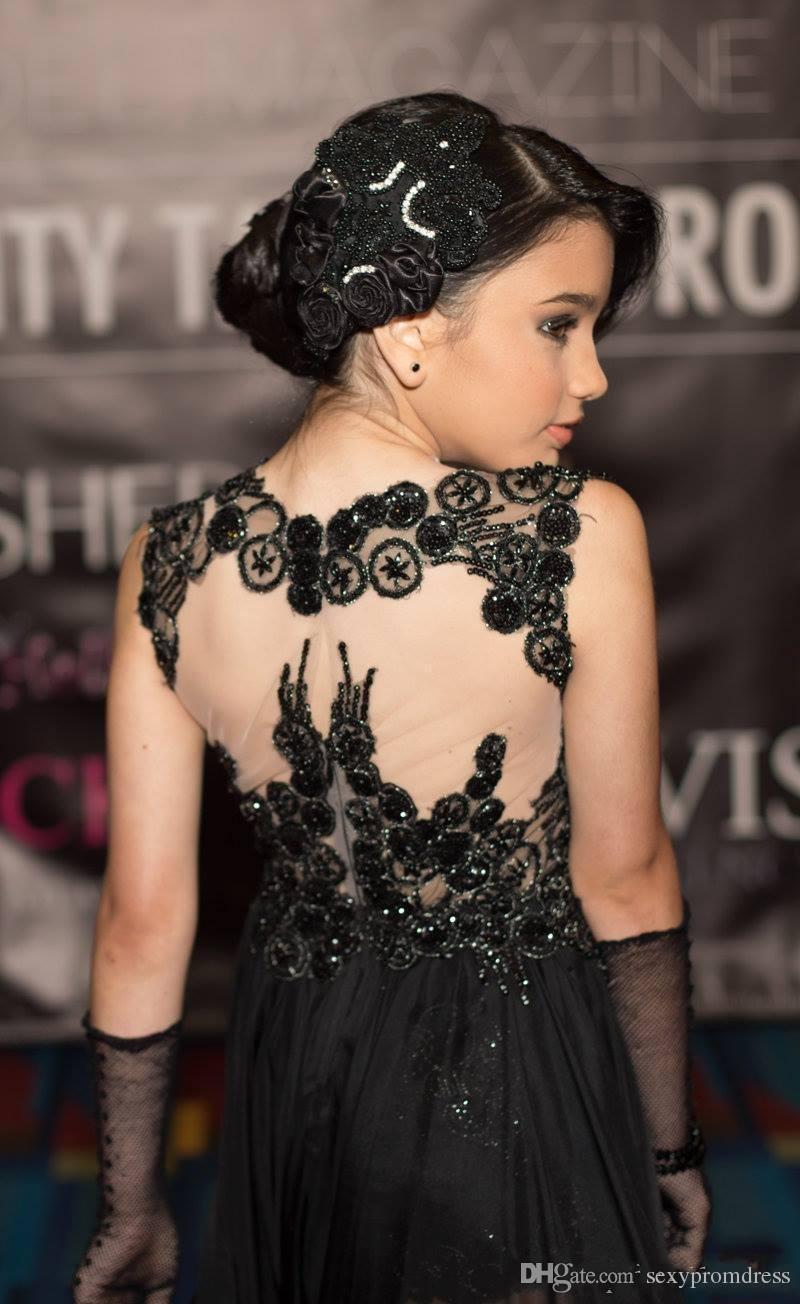 Sexy Black Lace Mädchen Pageant Kleider 2016 Sparkly Applique Chiffon Eine Linie Kinder Prom Party Kleider Blumenmädchenkleider Für Hochzeit