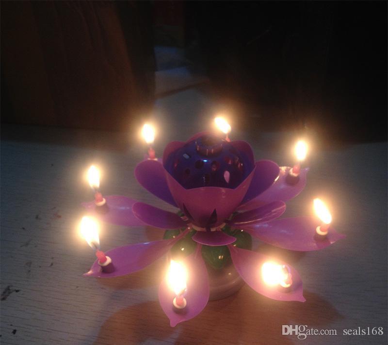 Cake Topper Doble cubierta Flor de loto Flor mágica Vela Fiesta de cumpleaños musical Pétalos coloridos Música vela HH7-204