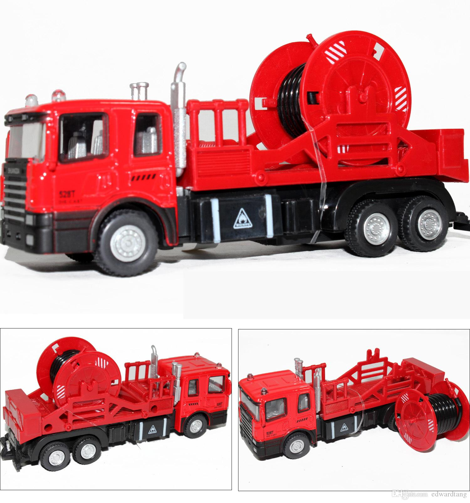 Alloy Truck Model Toy, Aerial Ladder Fire Truck Toy, Water Tanker, 5 Different Kinds, with Light for Christmas Kid' Gifts, Collecting