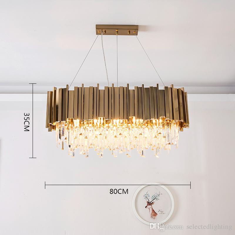 Luxus Post Modern Crystal Pendelleuchte K9 Kristall Edelstahl Lampenschirm in Gold Moderne Anhänger Beleuchtung Runde Rechteck Kristall Lichter