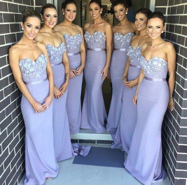 Vestidos de dama de honra 2016 Hot Barato Querida Lace Beads Com Caixilhos Flores Longo Sereia Para O Casamento Plus Size Lilás Longo Partido Prom Vestidos