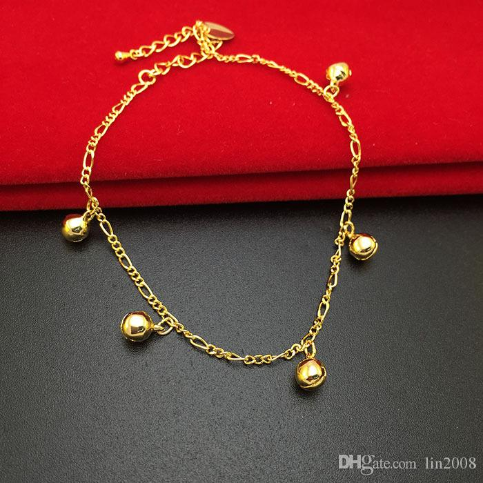 Trendy 24k gold plated Anklets for women,Fascinating Rhythm small bell foot jewelry barefoot sandals chain