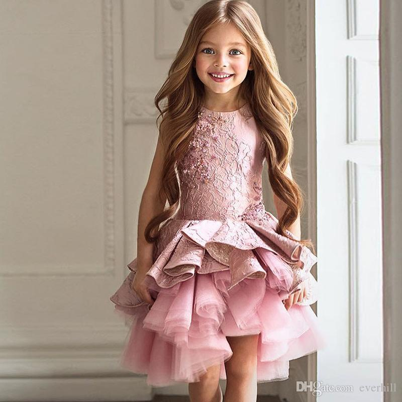 Jane Vini Real Photos Vintage Dusty Pink Flower Girls Dresses With