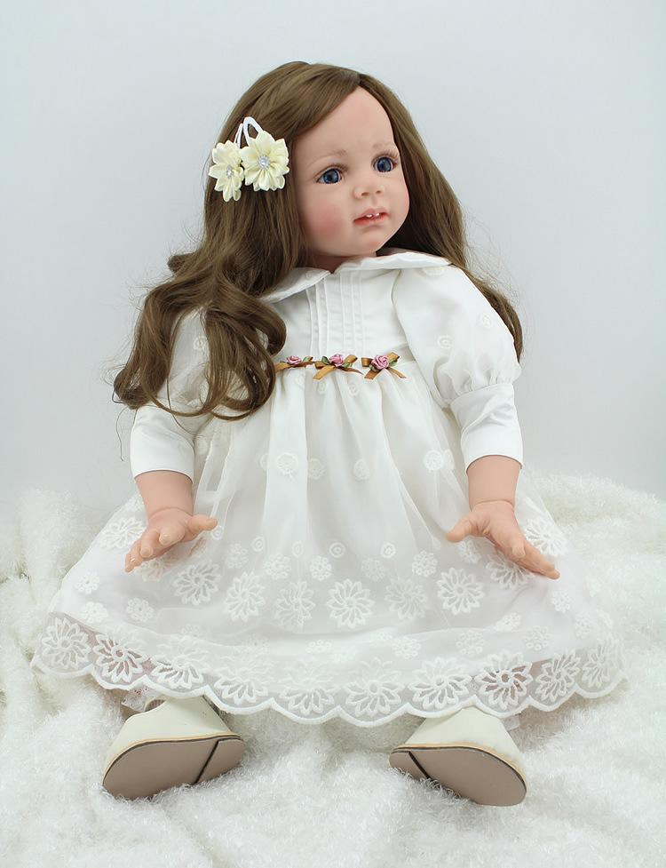 24 inches Reborn Baby Girl Doll Silicone Babies lifelike Newborn dolls with White Dress Blue Big Eyes