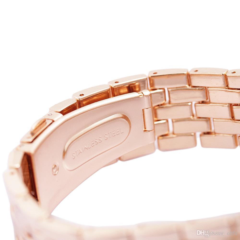 3 cores de luxo de quartzo de aço inoxidável de cristal platinum assistir unisex homens mulheres faux plated genebra bling senhoras relógio de pulso relógios
