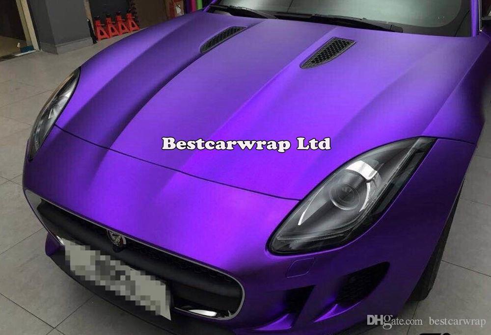 Сатин фиолетовый хром автомобиль обертывание винил с воздуха релиз хром матовый металлический фиолетовый фильм автомобиль обертывание стайлинга автомобилей наклейки size1.52x20m / Roll