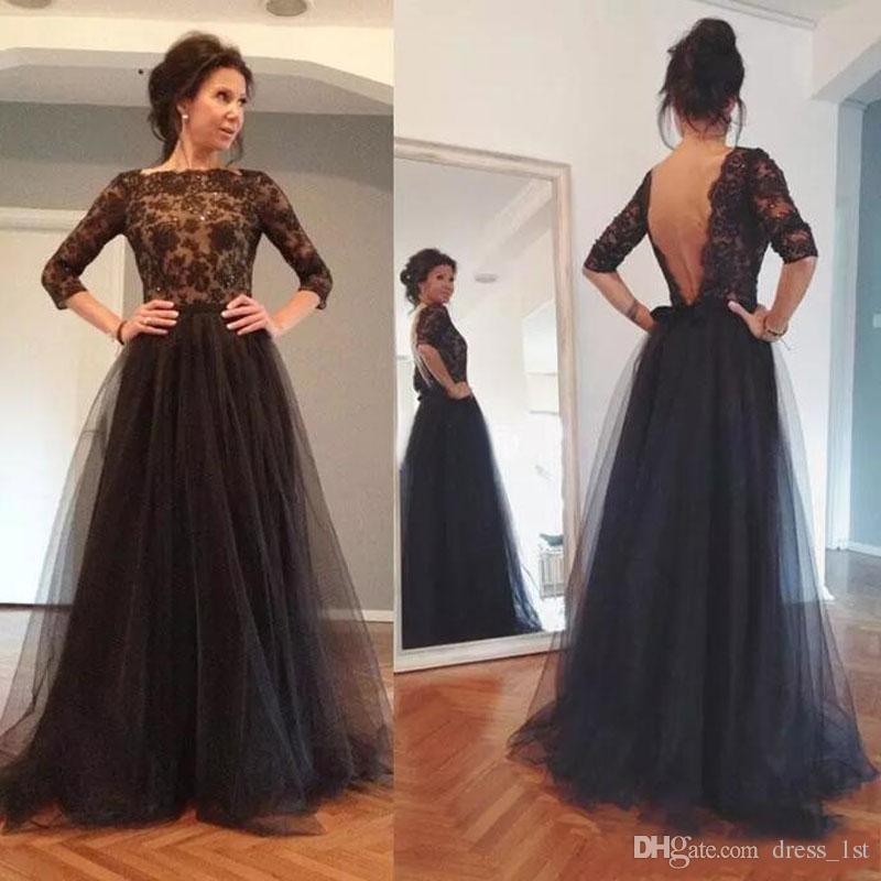 Black Designer Wedding Gowns: 2017 Elegant Black Lace Backless Illusion 3/4 Long Sleeve