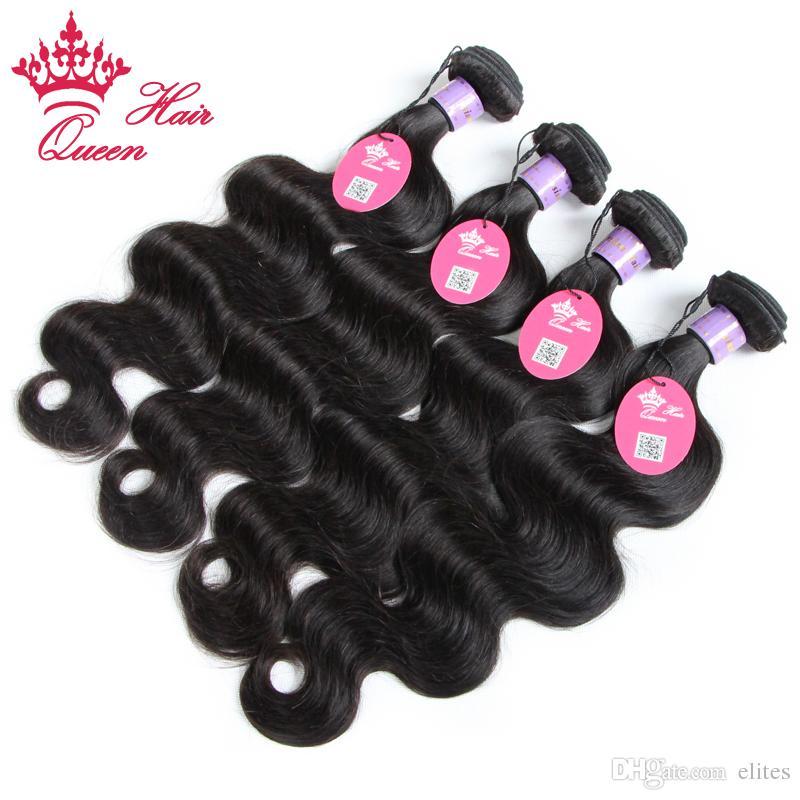 퀸 헤어 제품 말레이시아 처녀 번들을 직물 100 % 인간의 몸 파도 물결 모양의 인간의 머리 12