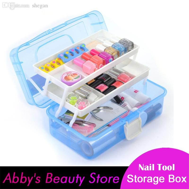 Wholesale Nail Polish Nail Art Tools Storage Box 3 Layer Plastic ...