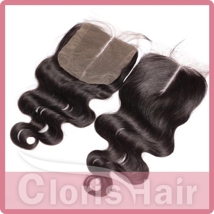 Human Hair Closure 4x4 Cheap Body Wave Indian Virgin Top Lace Closures Piece Bleached Knots Free Middle Three Part Closure Ombre DIY