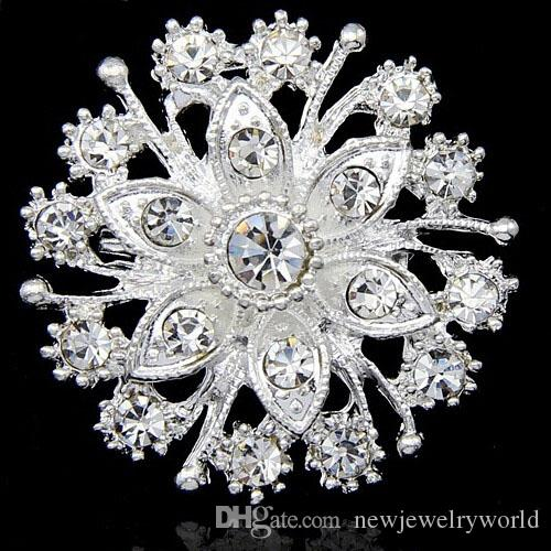 10 Designs!! Silver Tone Pretty Flower Bright Clear Crystal Brooch Women Floral Collar Pin Fashionable Brooches For Wedding Cheap Wholesale