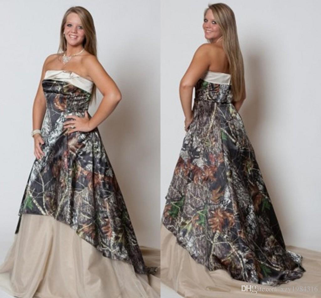 Abiti da sposa vintage plus size 2015 senza spalline Camo Forest Abiti da sposa alla moda nuova Sweep Train Camo stampa abiti da sposa