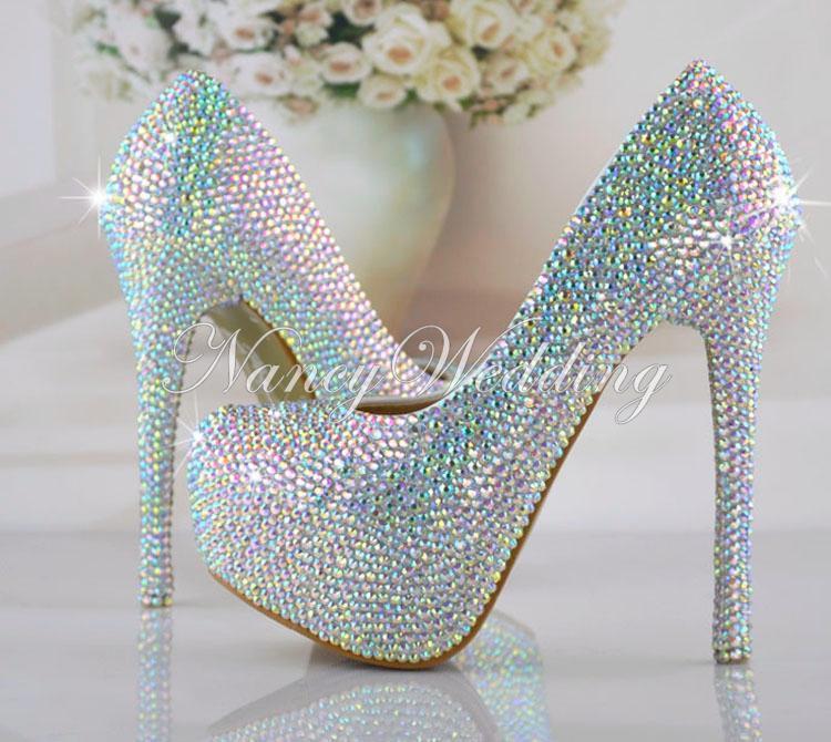 Taille 34-43 Mariage Chaussures De Mariée AB Crystal Bling Bling Chaussures De Cendrillon Incroyable Mariée Talons Hauts Bal Soirée Pompes