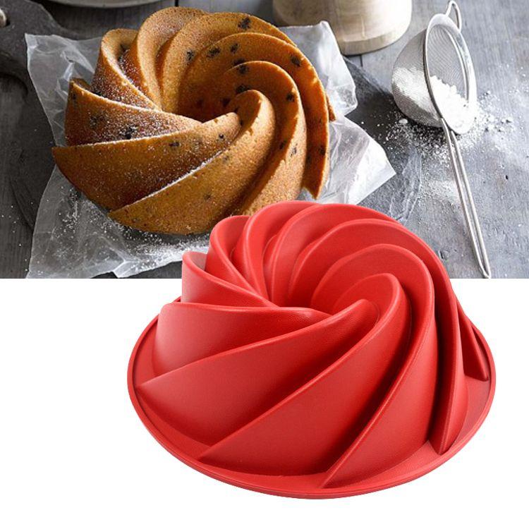 2018 9 76 Inch Large Spiral Shape Silicone Bundt Cake Pan