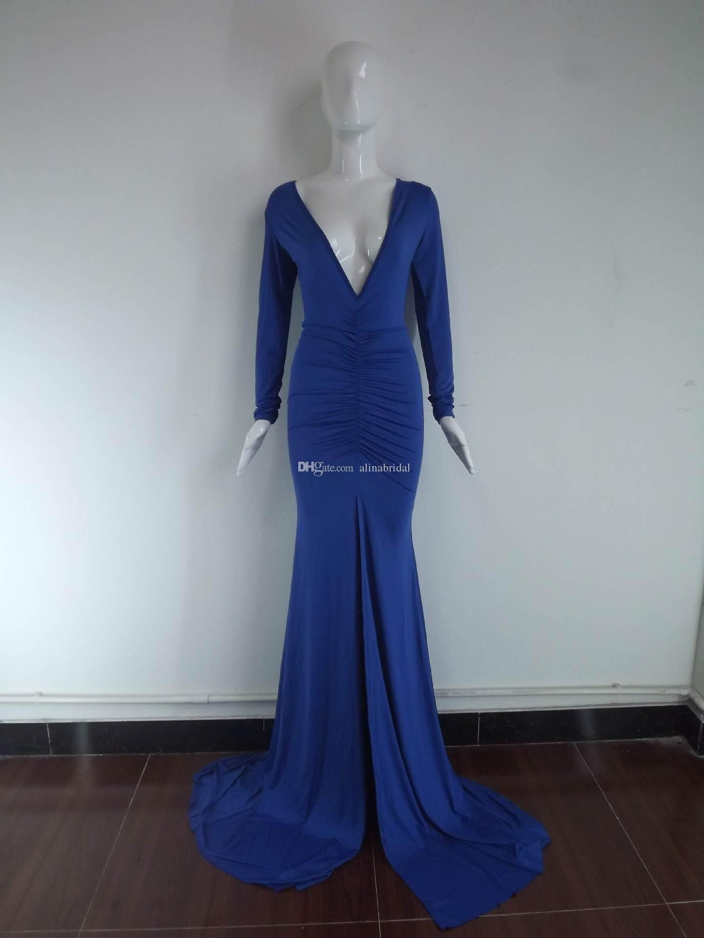 Royal Blue Plunging Long Sleeves Evening Dresses Sexy High Side Split Court Train Open Back Cocktail Party Gowns Celebrity Prom Dress