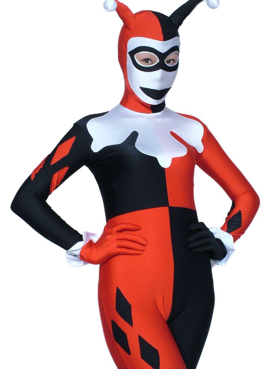 White Face Harley Quinn Costume Women'S Adult Sexy Villains Clown ...