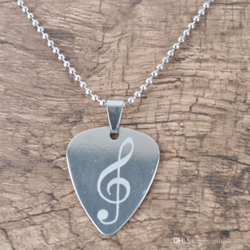 Hot Selling Stainless Steel Guitar Pick Pendant Necklace With LOGO Free