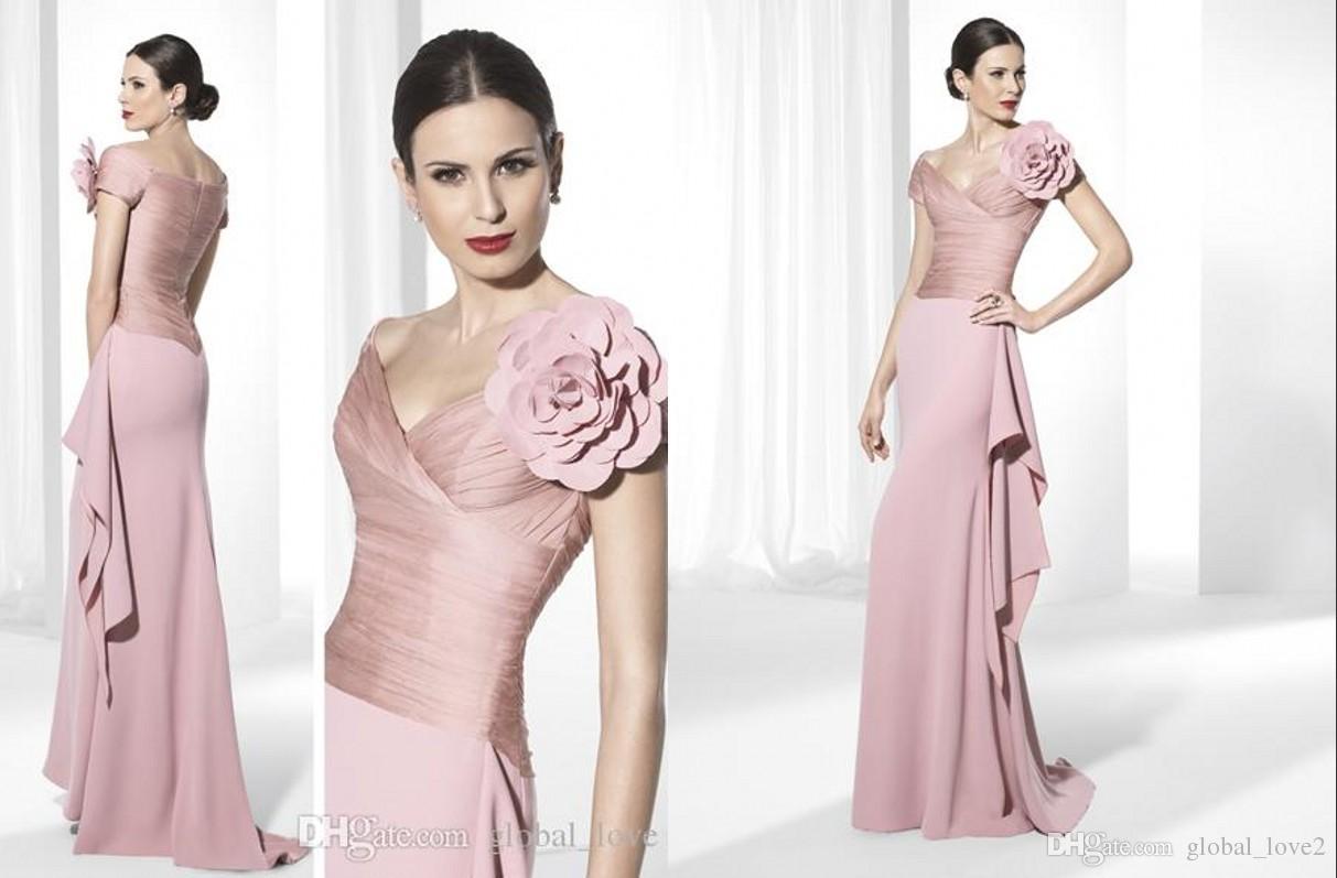 Pink Off The Shoulder With Flower Charming V Neck Plus