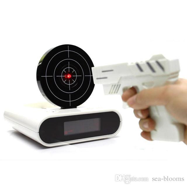 Gun Alarm Clock Target Wake Up Shooting Game Toy Novelty: Fun Toy Gun Alarm Clock Novelty Lcd Laser Gun Shooting
