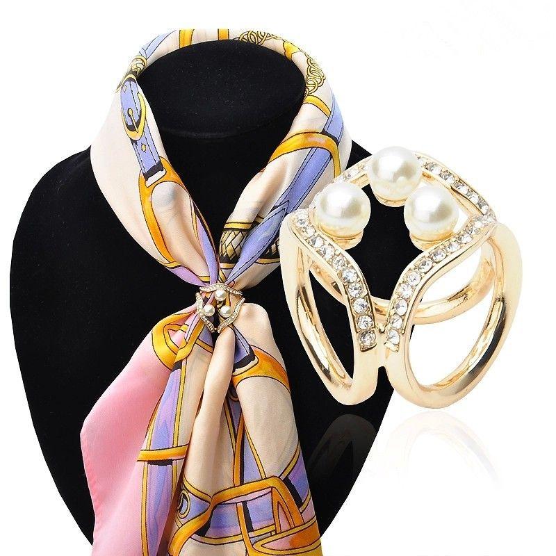 Nueva moda bufanda sujetador aleación perla forma seda hebilla chal clip simple diseño de oro / plata hebilla para mujeres