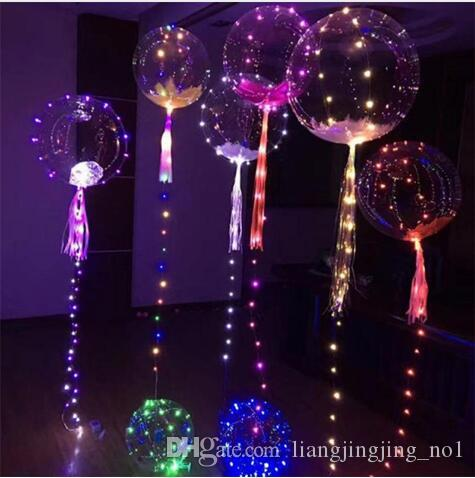 Luminoso Led Transparente 3 Metros Globo Intermitente Wedding Party Decoraciones Suministros de vacaciones Color Luminous Balloons KKA3181