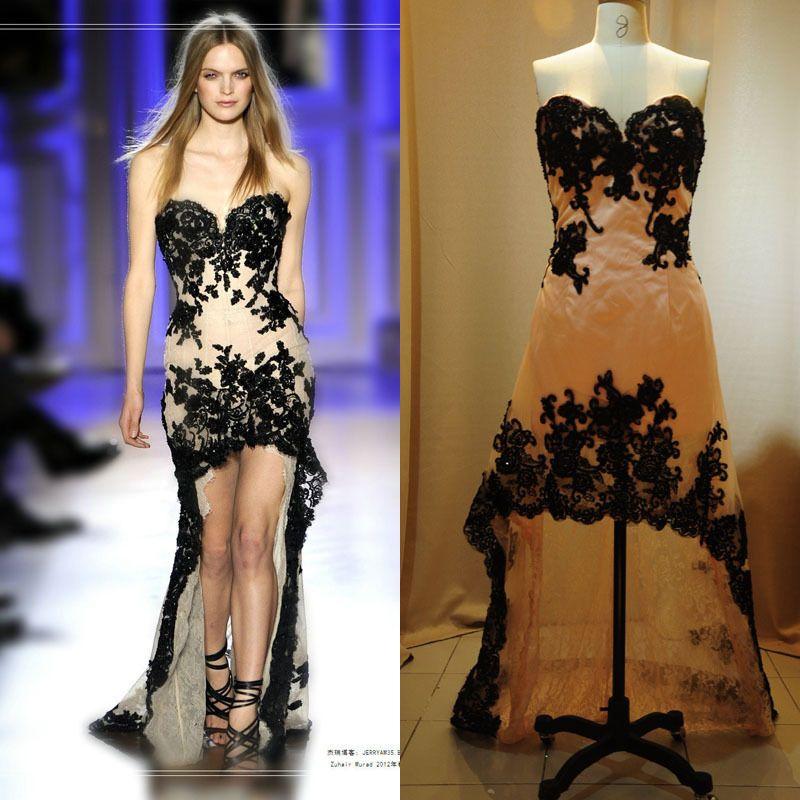 Stylish Prom Dresses 2016 Lace Applique vestidos de fiesta Hi-Lo Party Evening Gown vestido longo Custom Made Cheap robe de soiree longue