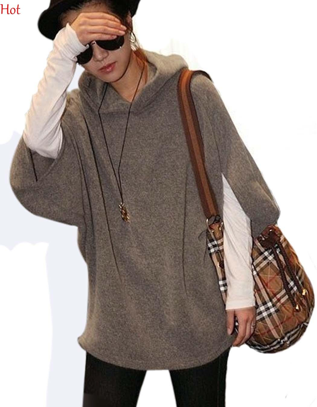 ed6593c8a0 2019 2016 Hot Fall Spring Sweaters Women Clothing Casual Bat Sleeve Sweater  Brushed Loose Pullovers Hooded Sweater Coat Grey Khaki Hoodies 7384 From ...