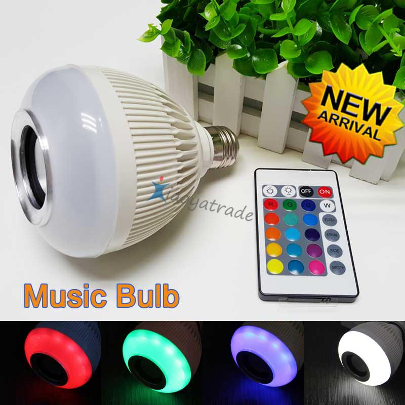 2015 New RGB E27 LED music bulb 12W AC85-265V White led light led bubble ball lighting Bluetooth Speaker with 24 keys remote
