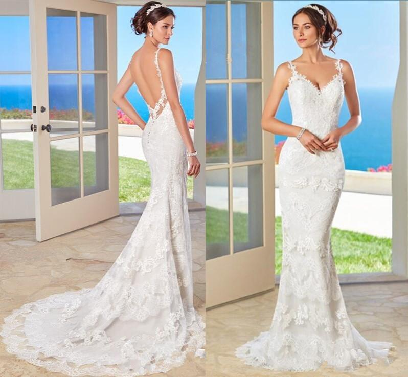 Full Lace Wedding Dresses Backless Summer Beach Formal Long Bridal Gowns With Spaghetti Straps Sweep Train Formal Wedding Gowns