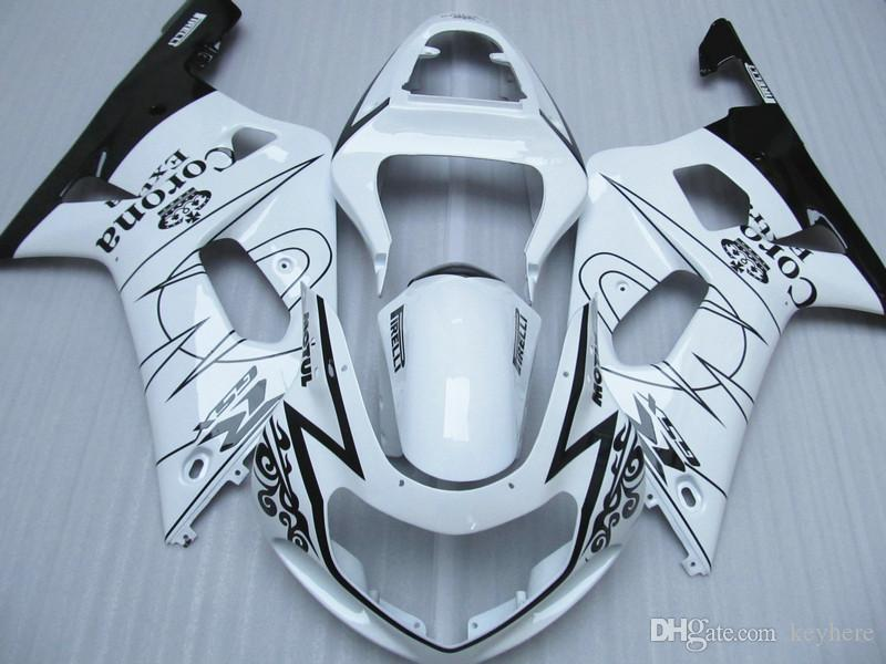 Vit Corona Alstare för Suzuki GSXR 600 750 Fairing Kit GSX-R600 R750 2001 2002 2003 GSXR600 GSXR750 K1 00 01 02 03 Bodywork Parts Kit