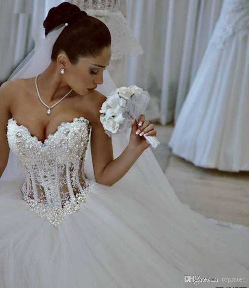 Vestido de bola 2019 vestidos de novia corsé de novia ver a través del piso de longitud princesa vestidos de novia con cuentas de perlas de encaje por encargo