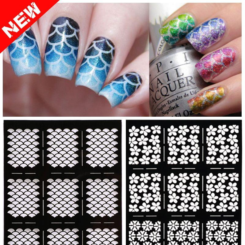2016 New 1sheet Nail Vinyls Irregular Grid Pattern Stamping Nail Art ...