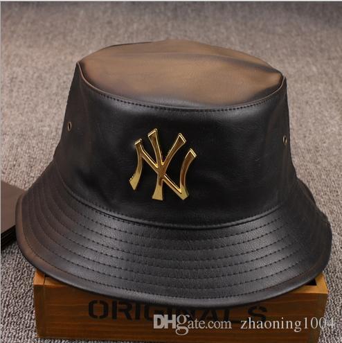 2019 Fashion Designer Leather Letter Bucket Hat For Mens ...