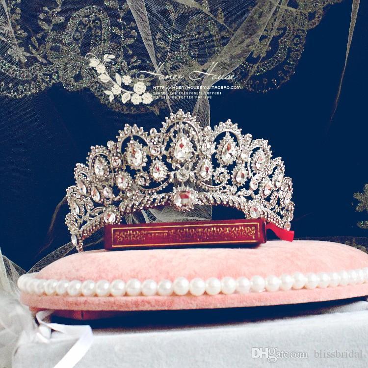 Cendrillon Luxe Empire Princesse Cristal Strass Mariage Couronne Couronne Voile Veil de mariage Brillant Bijoux de mariée Tiaras et accessoires pour cheveux