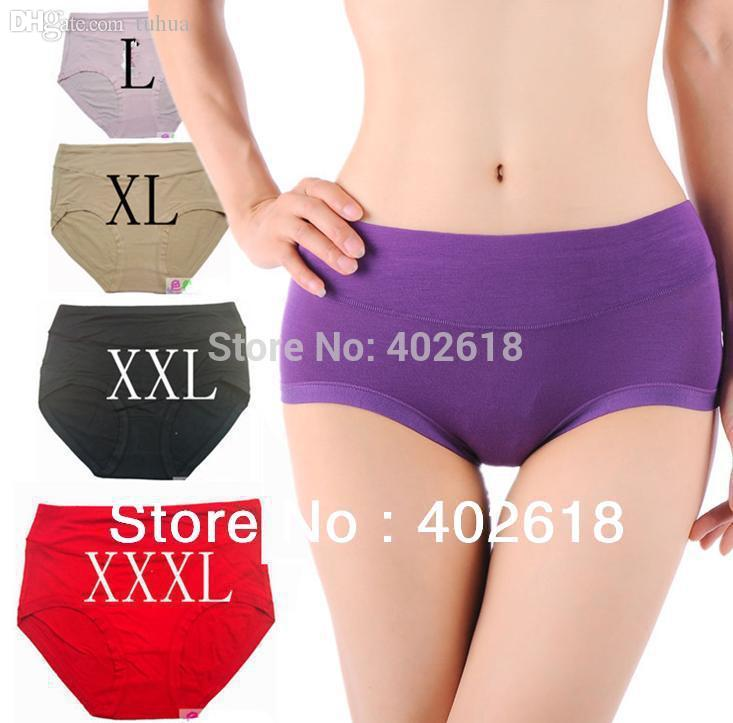 12c37cec587d35 Atacado-5PCS / lot Underwear Mulheres, cuecas de bambu, calcinha de bambu  respirável fibra de bambu Antibiotic Seamless cintura alta Plus Size L-XXXL