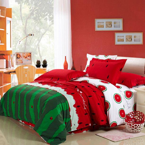 Watermelon bedding set king size queen full double quilt duvet cover sheets bedspread bed in a bag linen bedsheet cotton thick western