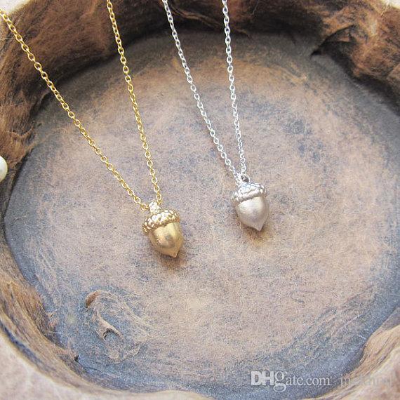 -N130 Bonito Pinecone Colar Minúsculo Bolota Colar Mínimo Dainty Pine Cone Colar Pequeno Esquilo Porca Colares para Presentes de Sorte