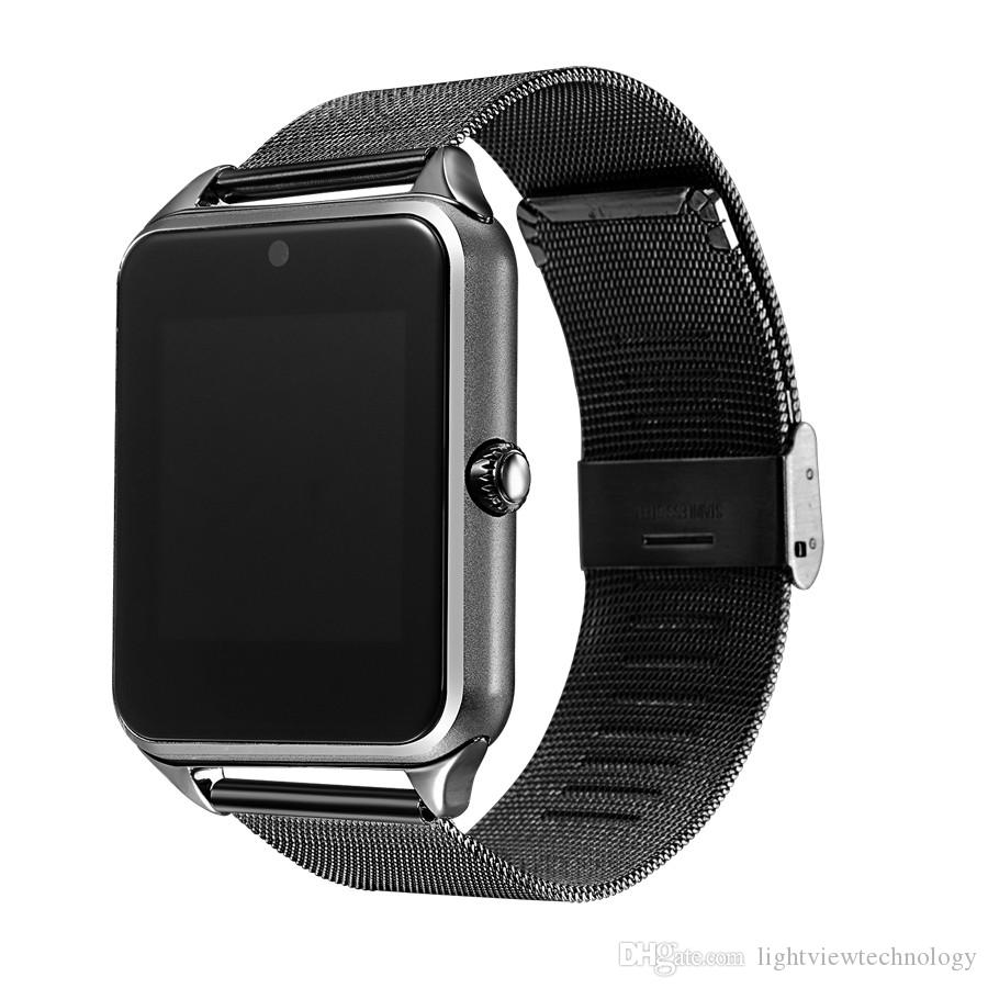 Bluetooth Smart Watch telefono Z60 supporto in acciaio inox SIM Card TF Fitness Tracker VS GT08 DZ09 A1 V8 Smartwatch IOS Android