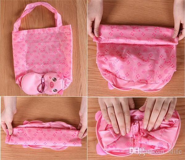 Compras bonito dos desenhos animados saco reutilizável Eco-Friendly de compras Bolsa portátil dobrável Zipper sacos bolsa bolsa de Crianças crianças dom OEM