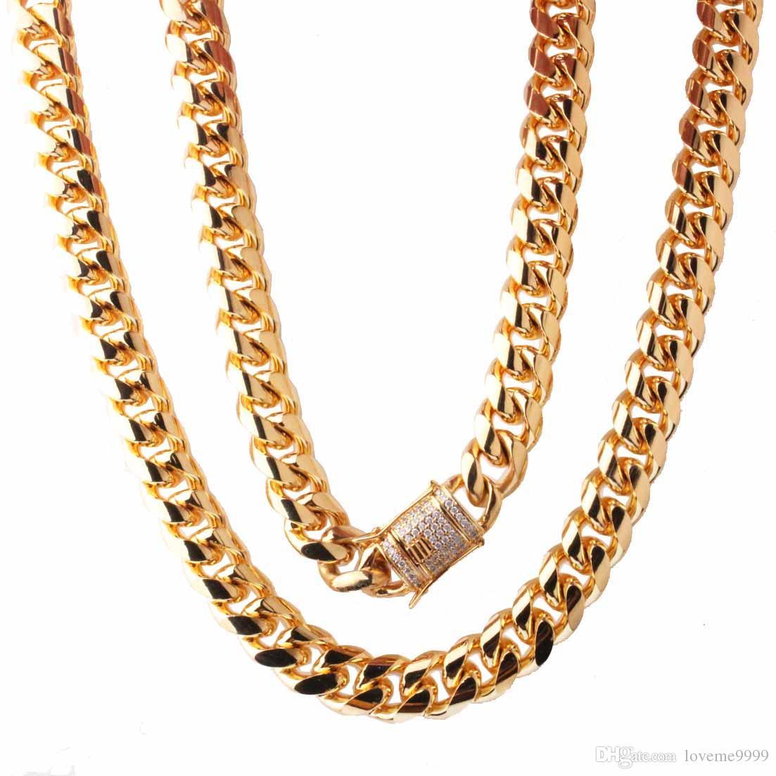 Хип-хоп 14 мм из нержавеющей стали Снаряженная кубинская цепь ожерелье мальчиков мужская мода цепи Дракон Белый Cz Застежка ссылка ювелирные изделия