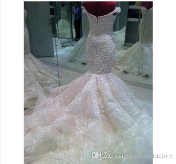 Stunning Luxury Unique Wedding Dresses Mermaid Off Shoulder Embroidery Beaded Pearls Exquisite Brides Gowns Bridal Wear Long Train
